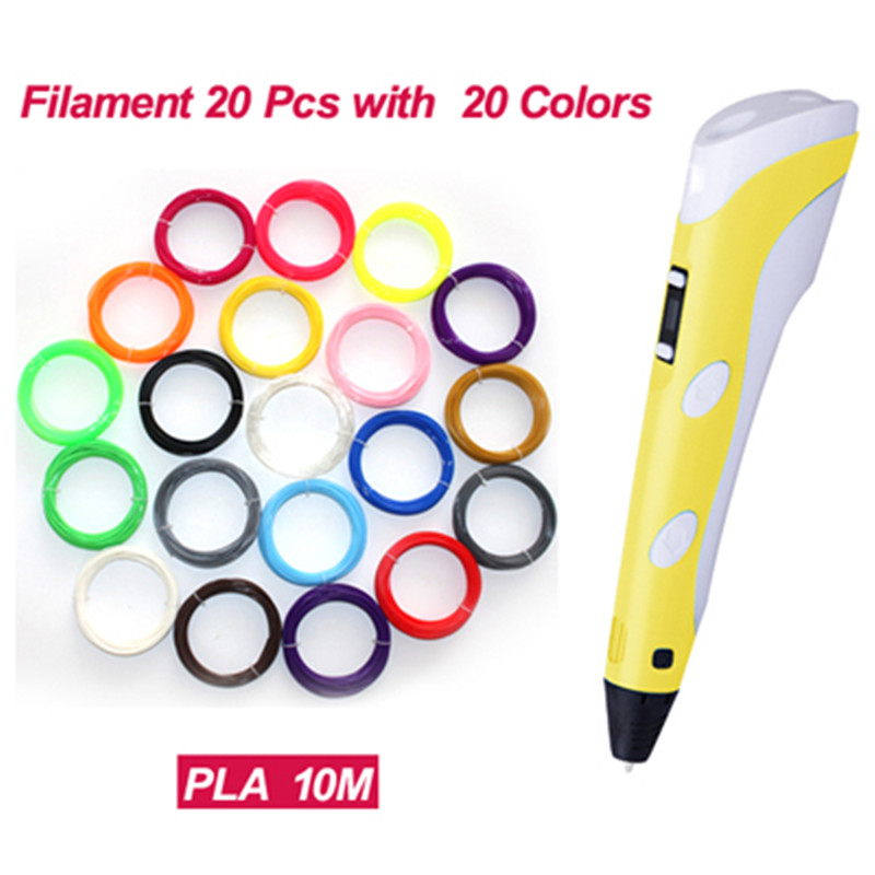 3D Printing Pen 2nd Generation LED Display DIY 3D Printer Pen With 20 Color 100M ABS  PLA Filament 1.75mm For Birthday Gift <br><br>Aliexpress