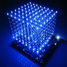 3D8 light cube (parts) pcb board +60 s2+573+2803 / CUBE8 8x8x8 3D LED + information and source(3D8S) 3d led cube Blue