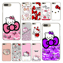 Fashionable Hello Kitty Fashion Hard Cover Case for Apple iPhone 7 Plus 7Plus Clear Skin Back Cover Coque Shell
