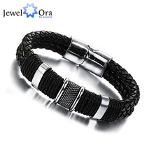 Wide Mens Weave Chain Wristband Leather Bracelet For Men Classic Bracelet Bangle Jewelry Gift For Man (JewelOra BA101163)(China)