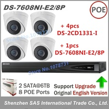 Hikvision NVR DS-7608NI-E2/8P 8CH 8 ports POE + 4pcs Hikvision DS-2CD1331-I Security 3MP Network Infrared IP Camera CCTV Kits