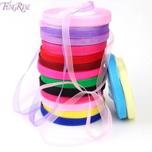 FENGRISE Organza Silk Ribbon 10mm 50yards Chiffon Roll Sewing Fabric Supplies Accessories Craft Gift Wrapping Wedding Decoration(China)