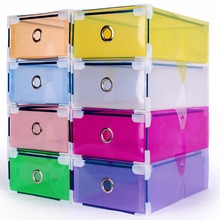 1Pcs new high quality Clear Plastic Shoe Boxes  Foldable Plastic PP Container Organizer Shoe Box Holder Thick Drawer organiza OB