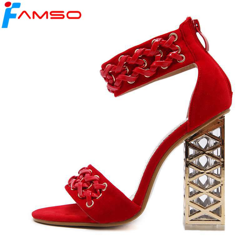 FAMSO 2018 New Arrival Black Sandals Shoes  High Heels beading Shoes red Wedding Shoes Summer Party Shoe Designer Pumps<br>