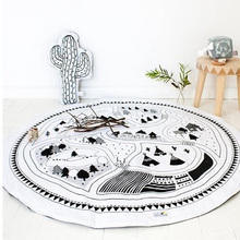 LEKU Ins Hot Sell Cotton White Baby Game Blanket Mat  Beach Mat Print Map 95cm