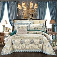 4pcs/set Jacquard Bedding set Luxury Embroidered Silk/Cotton Bedclothes Satin Quilt Cover Bed linen Queen King Size Home Textile(China)