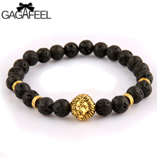 GAGAFEEL 2017 Fashion Antique Black Volcanic Stone Lava Energy Beads Men Strand  Bracelets Skull / Buddha / Lion Head  Bracelets