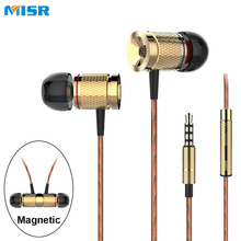 MISR XD3 Wired Earphone Magnet 3.5mm Jack Standard Stereo In-ear Headset Metal For Phone With Mic Microphone(China)