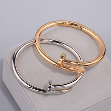 High Quality Charming Gold Colour Women Cuff Nail Bangles Simple Style Elegant Metal Bracelet & Bangle For Women Accessories S17(China)