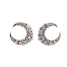 2016 New Trending Crystal Moon Earrings Silver Gold Color Alloy Ear Studs Earrings Female Cheap Jewelry 2016