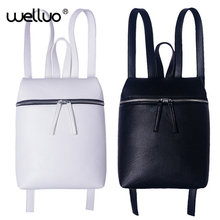 Simple Style Designer Women Backpack White and Black Lady Travel PU Leather Backpacks Fashion Female Rucksack bag Mochila XA867B