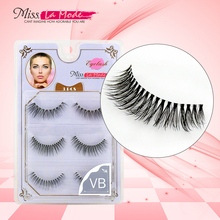 3pairs/lot Miss Lamode VB mink eyelashes natural false eyelashes hand made false eyelashes(China)