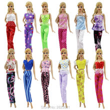 Random 10Pcs = 5x Blouse + 5x Bottoms Trousers Pants Doll Clothes Lady Outfits Girls Daily Wear Dollhouse Accessories For Barbie