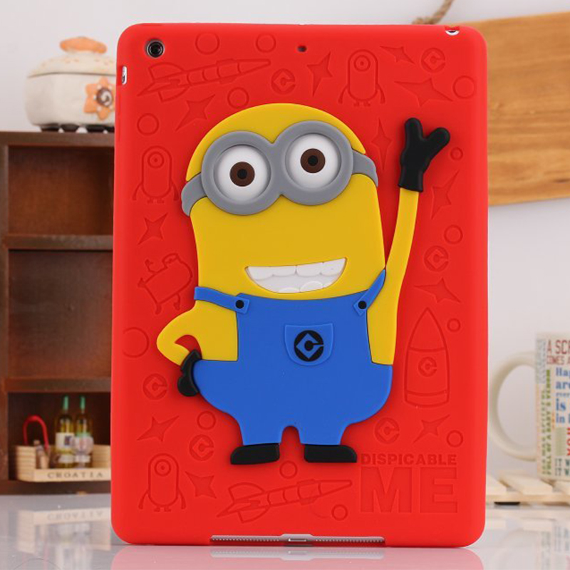 For iPad 5/6 Air 12 Case Silicone 3D Despicable Me Minions Soft Rubber Case Cover For Coque iPad Air 2017 Newest Drop Resistance<br><br>Aliexpress