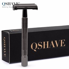 Qshave Long Handle Butterfly Open Classic Safety Razor Double Edge Safety Razor Gunblack, 1 Razor & 5 blades(China)