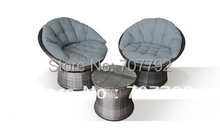 New!3 Piece Swivel Lounge Chair Set Grey Rattan(China)