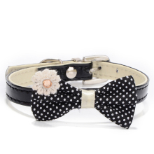 1pcs PU Leather Bow Tie Dog Collar Kitten Cat And Puppy Chihuahua Harness Leash Dog Accessories Pet Shop Dog Supplies Black(China)