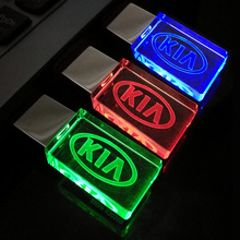 New Crystal Car Logo for KIA USB Flash Drive 64GB/8GB/16GB/32GB USB 2.0 Flash Memory Drive Stick Pen/Thumb/Car,3Color LED Light
