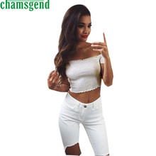 CHAMSGEND Good Deal New Arrivals Women Fashion Summer Crop Tops Off Shoulder Short Sleeve Shirts T shirt   1PC*30