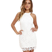 2018 New Women Casual Dress Elegant Wedding Party Sexy Night Club Halter  Neck Sleeveless Sheath Bodycon Lace Mini Dress vestido cc43d74f0156