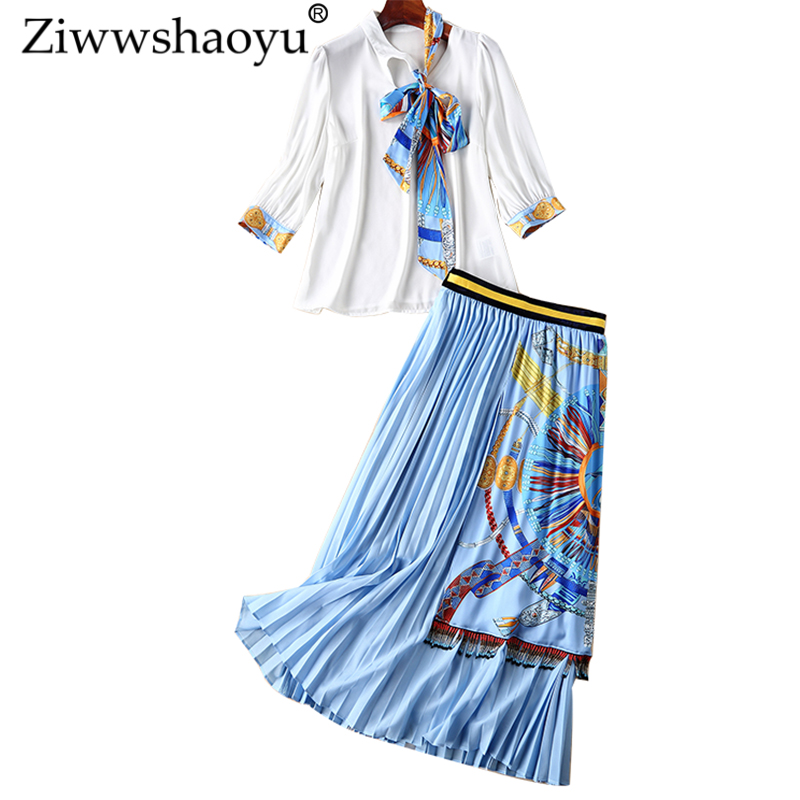 Ziwwshaoyu Bow O-Neck shirt + Pleated Beading Tassel long Half skirt Set temperament Print Set spring and summer new women