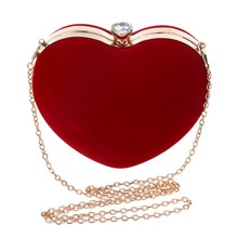New Lovely Heart Shaped Diamonds Women Evening Bags Blue/Pink/Red Chain Shoulder Purse Day Clutches Evening Handbags For Party
