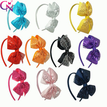 30 Pcs/lot Girls Solid Satin Hairband With Sequin Bows Kids Handmade Boutique Bling Headband Hair Accessories(China)