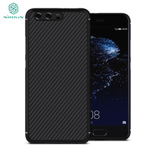 For Huawei P10 P 10 case Original Nillkin business Synthetic carbon fiber cover case Micro USB to Type-C adapter for gift(China)