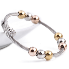 new arrival spring wire line colorful beads cross Stainless steel Cable stretch bracelet Bangles for women(China)