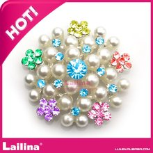 100pcs Lot Colorful Rhinestone and Pearl flower Brooch  Crystal Wedding Invitation Bouquet Brooches