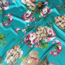 azalea Spandex evening dress clothing material Large Flowers pattern Satin Print Fabric