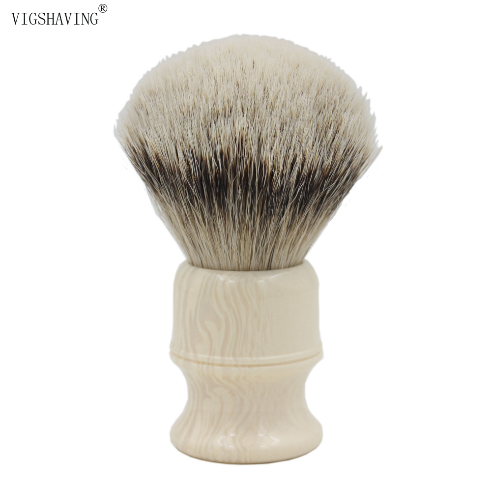 VIGSHAVING Faux Ivory Resin Handle Silvertip Badger Hair Shaving Brush<br>