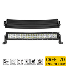 1pcs 7D 200W 22inch CREE Chips Straight LED Light Bar Offroad Led Work Driving Light Bar Combo Beam 12v 24v Truck SUV ATV 4x4