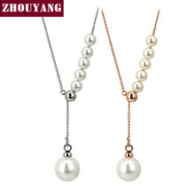 Top Quality Imitation Pearl Adjustable chain length Rose Gold Color Necklace Austrian Crystal Wholesale ZYN591 ZYN592