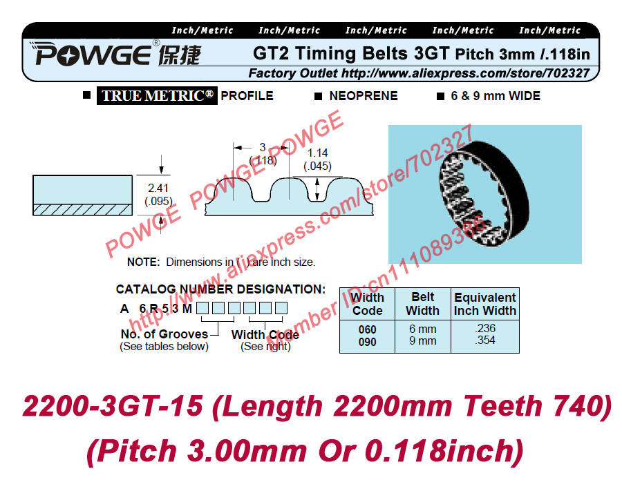 20pcs/lot 3GT Timing belt 2220 3GT 15 Length 2220mm Width 15mm Teeth 740 Rubber with fiberglass Core in closed loop 3GT pulley<br><br>Aliexpress