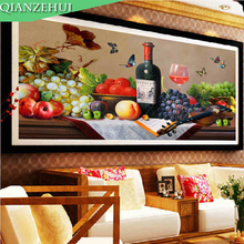 QIANZEHUI,Needlework,DIY restaurant wine Cross stitch ,Rose wine glass fruit Full embroidery Cross-stitch ,Wall Home decor