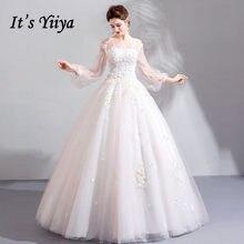 It s YiiYa Wedding Dress White Illusion O-neck Full Puff Sleeve A-line  Floor-length Appliques High Grade LX1152 vestido de noiva 209572479563