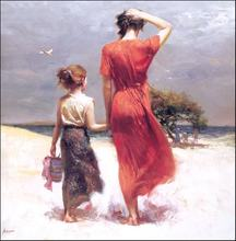 High quality oil Painting canvas Pino Daeni wall art Mother and child  At Seaside Landscape painting  For Home Decoration