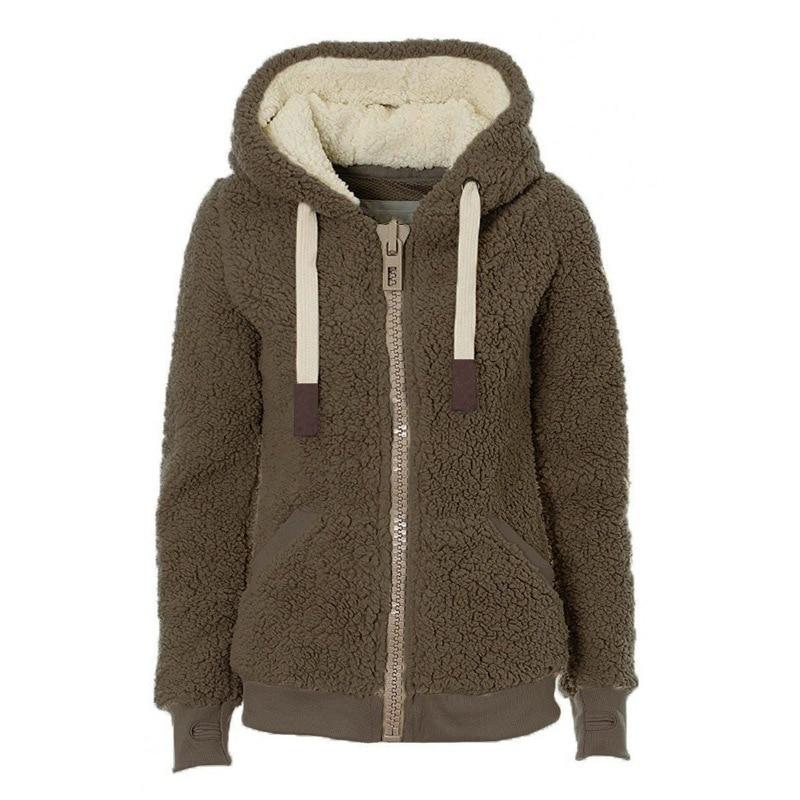 BYWX Women Full Zip Hoodies Coat Fuzzy Autumn Thick Fleece Sweatshirts Hooded Tops