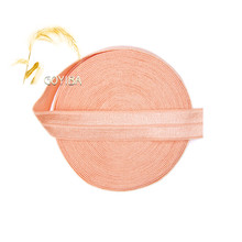 "GOYIBA 5 Yard 5/8"" 1.5cm Petal Peach Solid FOE Foldover Elastic Spandex Satin Kids Hairband Headband Lace Trim DIY Sewing Notion"