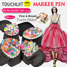Touchliit Alcohol Permanent Markers 30/40/60/80 Dual Design Graffiti Marker for Animation/Industry/Building Fine Liner Draw Pens