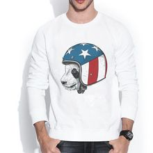 dorable panda wearing an USA flag helmet riding all the way 1609889 3D Retro Design Print Crew Neck Men's Sweatshirts