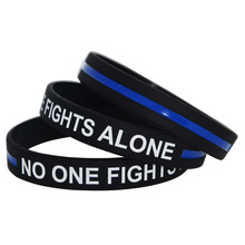 1piece Motivation Silicone Wristband No One Fight Alone Bracelet(China)