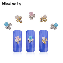 10pcs/pack Heart Bow Design Candy Stone Alloy Rhinestone 3d Nail Decoration DIY Cell Phone Manicure Nail Jewelry Accessories