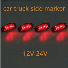 one piece 12V 24V 2 LED Side Marker Indicators Lights Lamp Car Truck Trailer Lorry Bus waterproof 3 colors new arrival