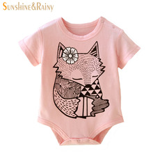 Summer Infant Baby Fox Rompers Baby Girls Hello Kitty Cat Romper Boys Gentleman Jumpsuit Cartoon Animal Newborn Bebes Clothes