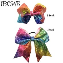 1Pc Boutique Pretty Hair Bows Rainbow Hair Clips WIth Sequin Pony Tail Holder Girls Kids Hair Accessories Birthday Gift