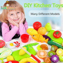 LittLove Plastic Play Toy Fruit and Vegetables Cake Cutting Kids Pretend Play Educational Toys Cooking Kitchen Toys For Children(China)