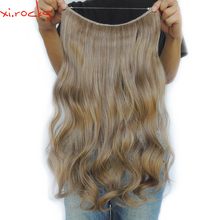 Xi.rocks 25 Colors Halo Elastic Rope Hair Extension 24inches Synthetic Weave Around the Head or Curly Sew in Weave Double Weft(China)
