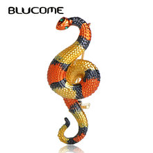 Blucome Vivid Poisonous Striped Cold Blood Snake Brooches Gold-color Pins Women Men Kids Jewelry Suit Collar Scarf Accessories(China)